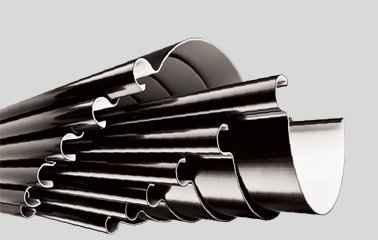 6 розмірів водостічної системи ПВХ та <br />5 размірів металевої